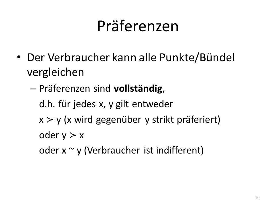 Präferenzen Der Verbraucher kann alle Punkte/Bündel vergleichen – Präferenzen sind vollständig, d.h. für jedes x, y gilt entweder x y (x wird gegenübe