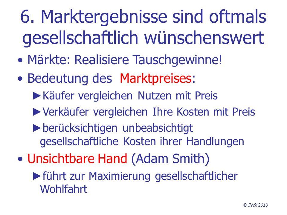 © Pech 2010 6. Marktergebnisse sind oftmals gesellschaftlich wünschenswert Märkte: Realisiere Tauschgewinne! Bedeutung des Marktpreises: Käufer vergle