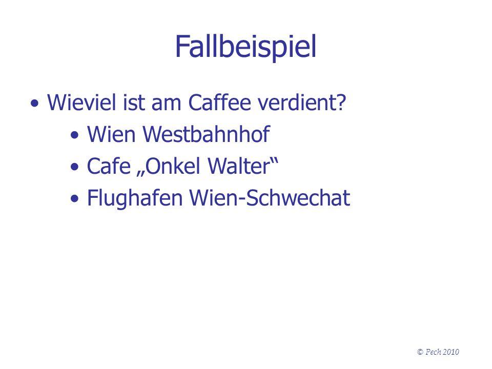 © Pech 2010 Fallbeispiel Wieviel ist am Caffee verdient? Wien Westbahnhof Cafe Onkel Walter Flughafen Wien-Schwechat