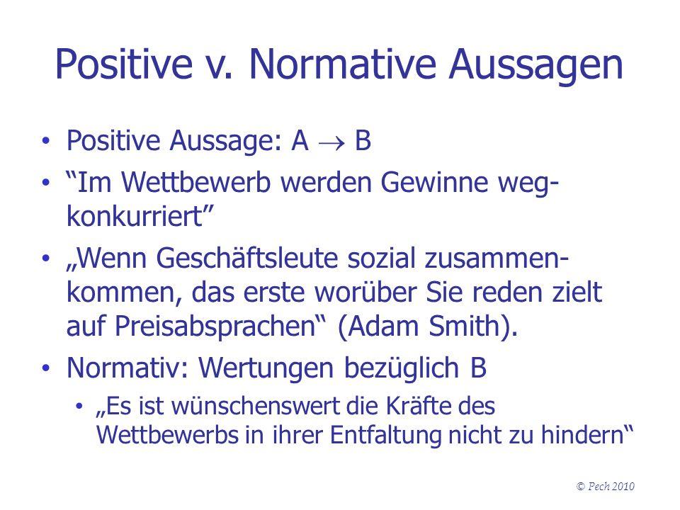 Positive v. Normative Aussagen Positive Aussage: A B Im Wettbewerb werden Gewinne weg- konkurriert Wenn Geschäftsleute sozial zusammen- kommen, das er