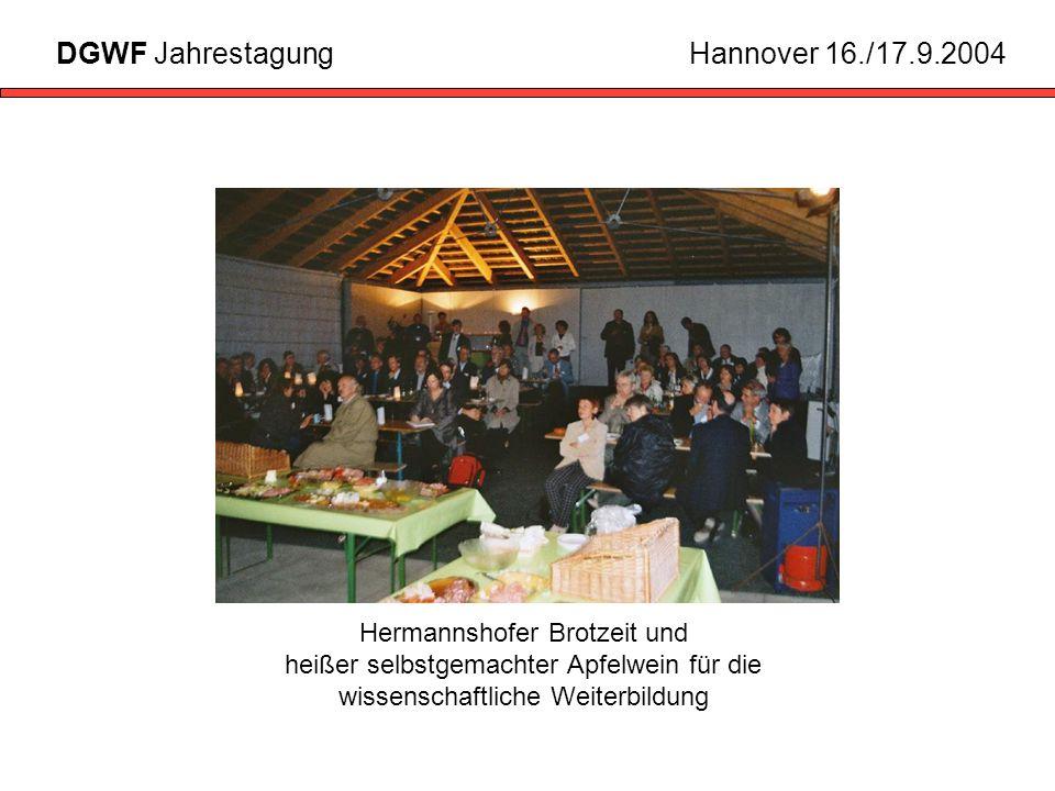 Hermannshofer Brotzeit und heißer selbstgemachter Apfelwein für die wissenschaftliche Weiterbildung DGWF JahrestagungHannover 16./17.9.2004