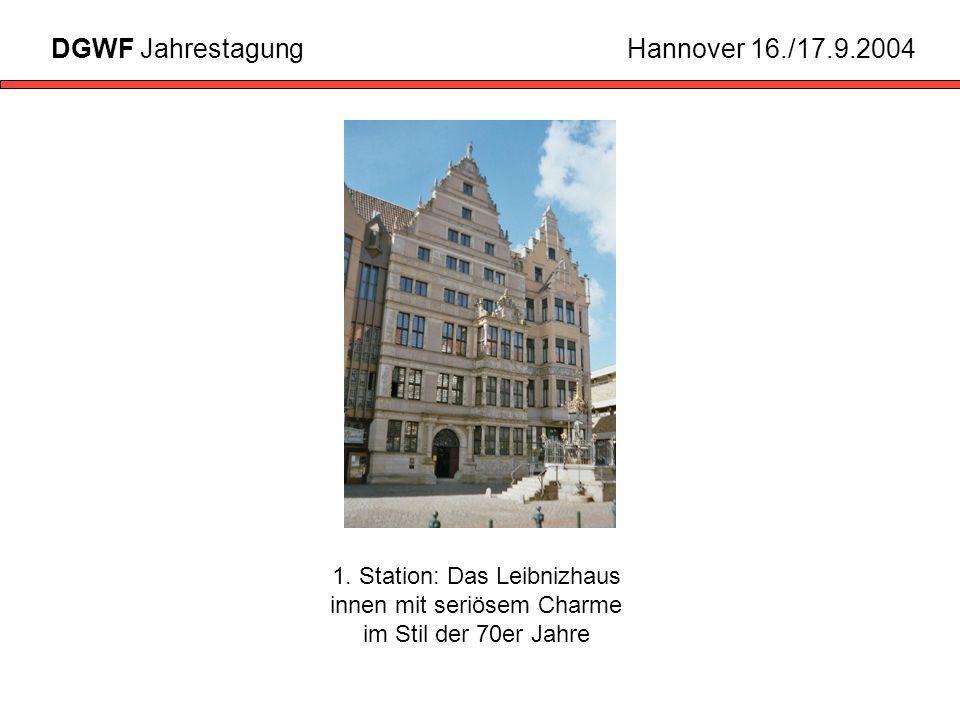 1. Station: Das Leibnizhaus innen mit seriösem Charme im Stil der 70er Jahre DGWF JahrestagungHannover 16./17.9.2004