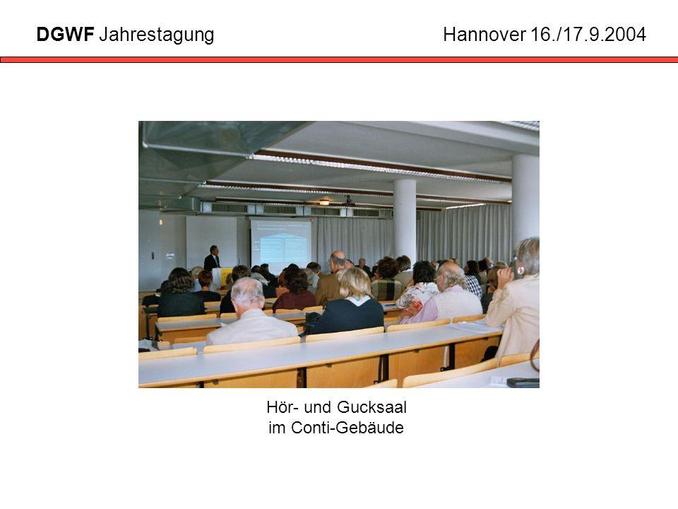 Hör- und Gucksaal im Conti-Gebäude DGWF JahrestagungHannover 16./17.9.2004