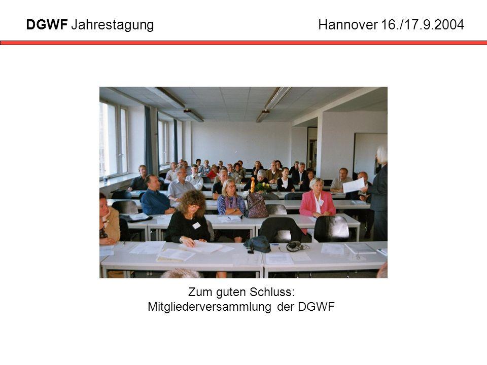 Zum guten Schluss: Mitgliederversammlung der DGWF DGWF JahrestagungHannover 16./17.9.2004