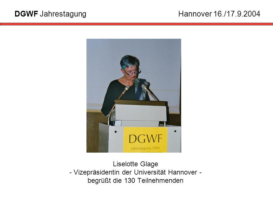 Liselotte Glage - Vizepräsidentin der Universität Hannover - begrüßt die 130 Teilnehmenden DGWF JahrestagungHannover 16./17.9.2004