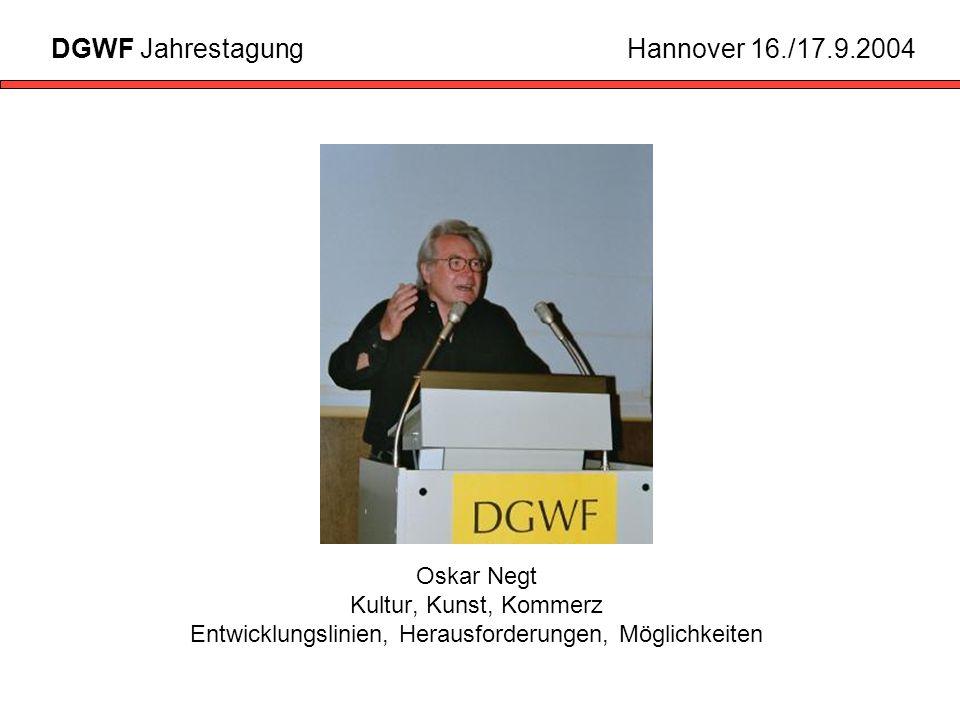 Oskar Negt Kultur, Kunst, Kommerz Entwicklungslinien, Herausforderungen, Möglichkeiten DGWF JahrestagungHannover 16./17.9.2004
