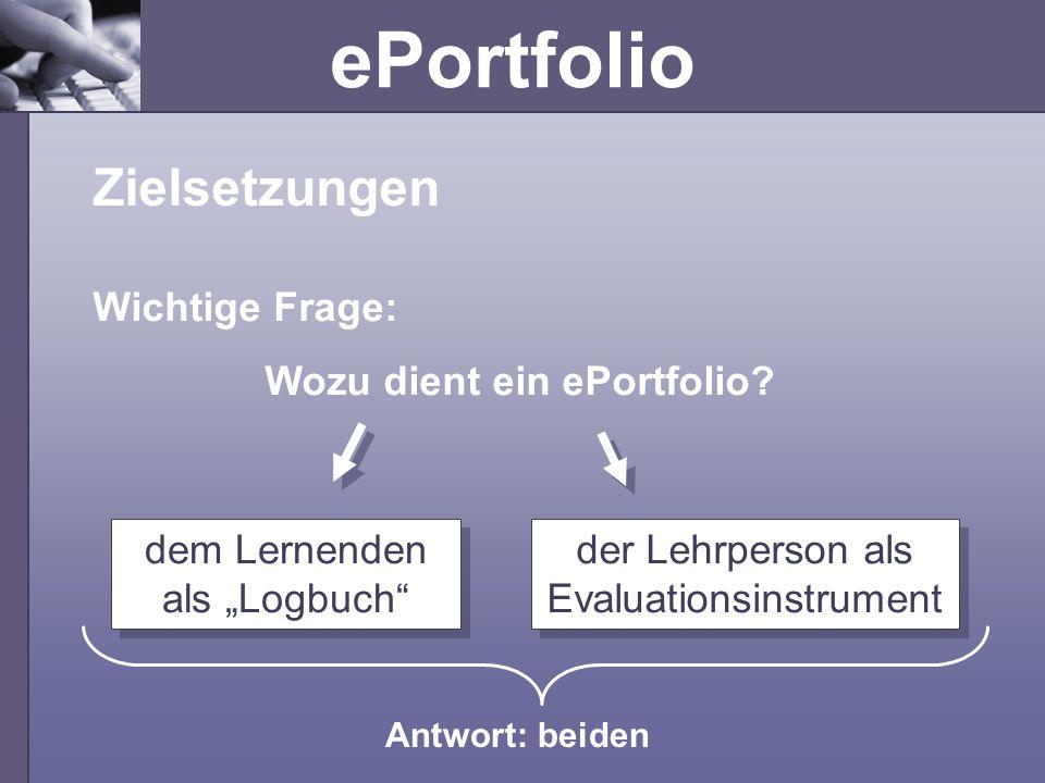 ePortfolio Zielsetzungen dem Lernenden als Logbuch der Lehrperson als Evaluationsinstrument Antwort: beiden Wichtige Frage: Wozu dient ein ePortfolio?