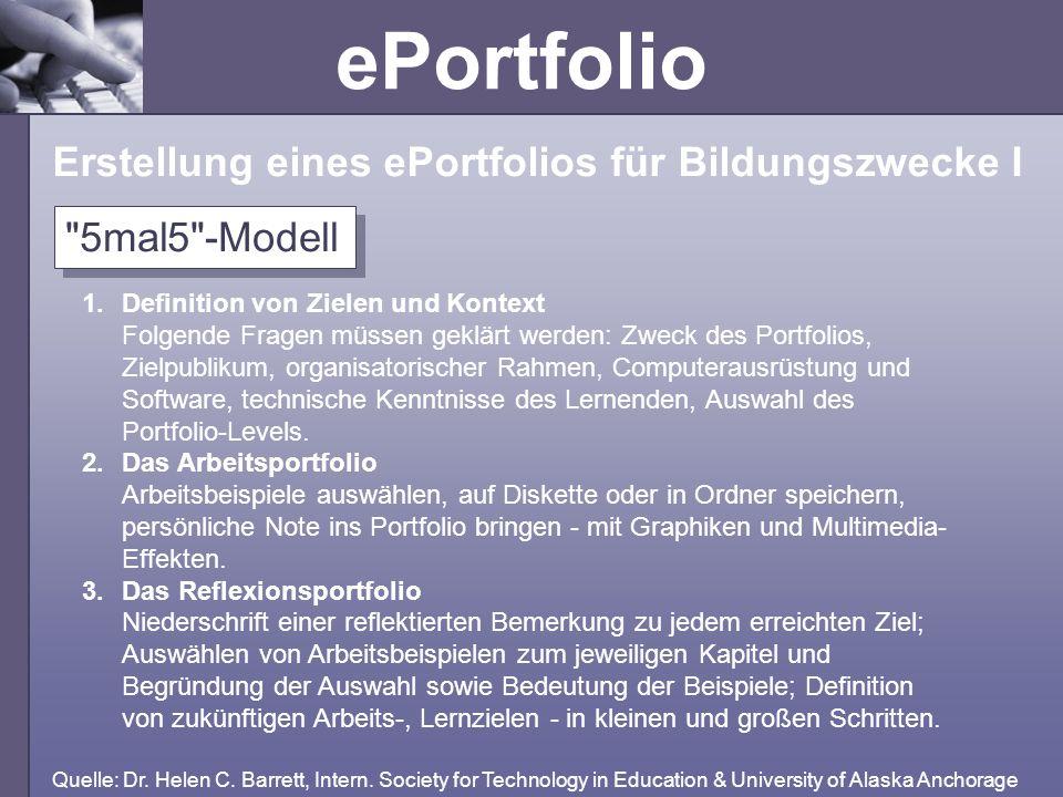 ePortfolio 1.Definition von Zielen und Kontext Folgende Fragen müssen geklärt werden: Zweck des Portfolios, Zielpublikum, organisatorischer Rahmen, Co