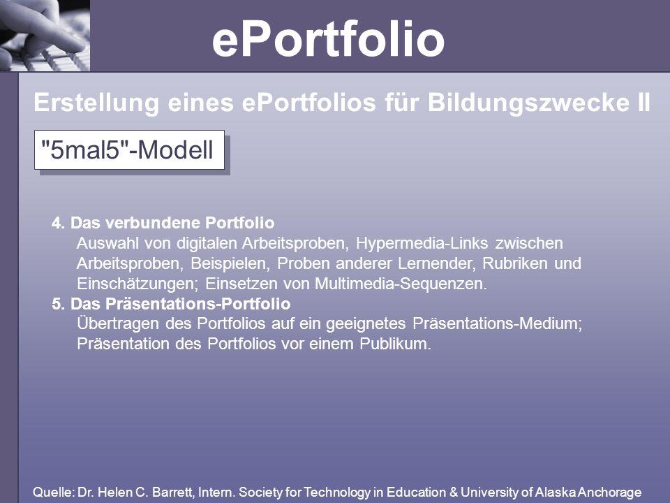 ePortfolio 4. Das verbundene Portfolio Auswahl von digitalen Arbeitsproben, Hypermedia-Links zwischen Arbeitsproben, Beispielen, Proben anderer Lernen