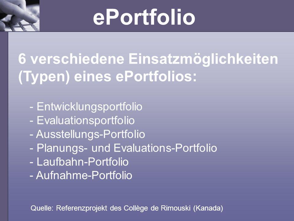 ePortfolio 6 verschiedene Einsatzmöglichkeiten (Typen) eines ePortfolios: Quelle: Referenzprojekt des Collège de Rimouski (Kanada) - Entwicklungsportf
