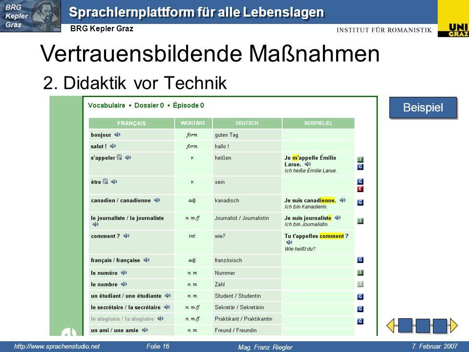 http://www.sprachenstudio.net 7. Februar 2007 Mag. Franz Riegler Sprachlernplattform für alle Lebenslagen BRG Kepler Graz Folie 16 2. Didaktik vor Tec