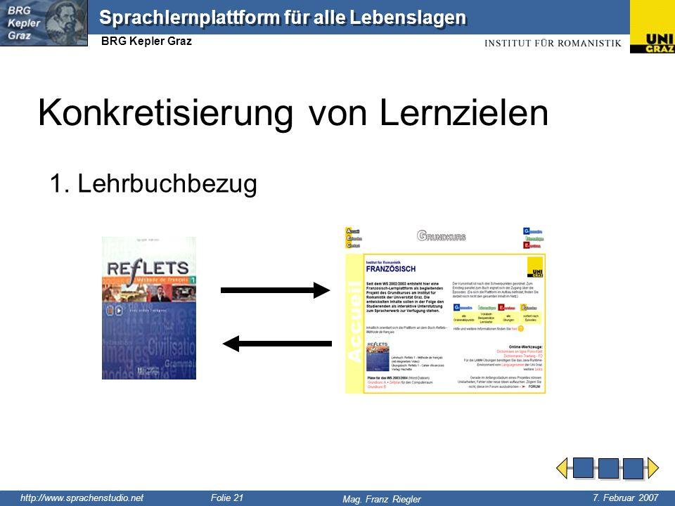 http://www.sprachenstudio.net 7. Februar 2007 Mag. Franz Riegler Sprachlernplattform für alle Lebenslagen BRG Kepler Graz Folie 21 1. Lehrbuchbezug Ko