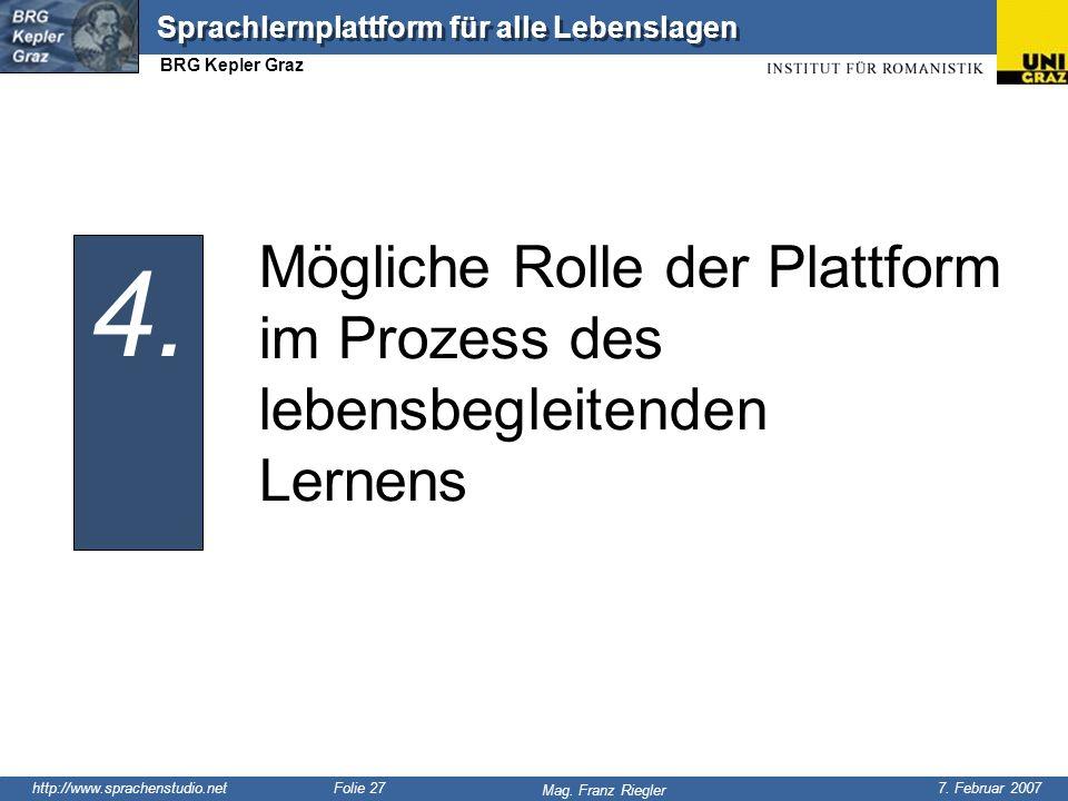 http://www.sprachenstudio.net 7. Februar 2007 Mag. Franz Riegler Sprachlernplattform für alle Lebenslagen BRG Kepler Graz Folie 27 Mögliche Rolle der