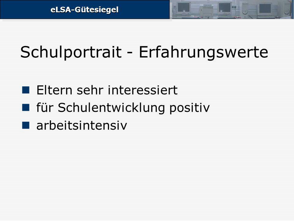 eLSA-GütesiegeleLSA-Gütesiegel Schulportrait - Erfahrungswerte Eltern sehr interessiert für Schulentwicklung positiv arbeitsintensiv