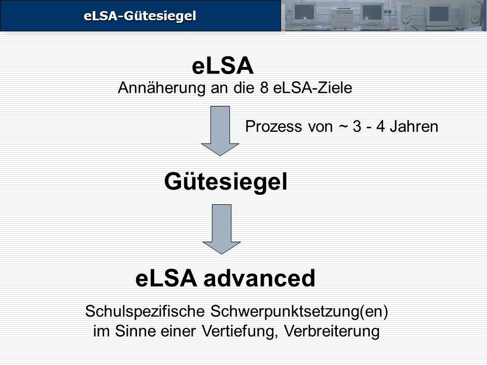 eLSA-GütesiegeleLSA-Gütesiegel eLSA eLSA advanced Gütesiegel Prozess von ~ 3 - 4 Jahren Schulspezifische Schwerpunktsetzung(en) im Sinne einer Vertiefung, Verbreiterung Annäherung an die 8 eLSA-Ziele