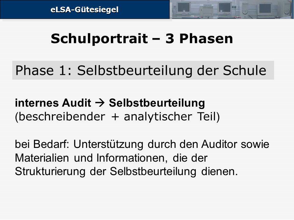 eLSA-GütesiegeleLSA-Gütesiegel internes Audit Selbstbeurteilung ( beschreibender + analytischer Teil ) bei Bedarf: Unterstützung durch den Auditor sowie Materialien und Informationen, die der Strukturierung der Selbstbeurteilung dienen.