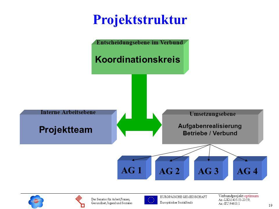 19 Verbundprojekt optimum Az.-LKM:405-53-20/59, Az.-EU:94603.1 Der Senator für Arbeit,Frauen, Gesundheit,Jugend und Soziales EUROPÄISCHE GEMEINSCHAFT