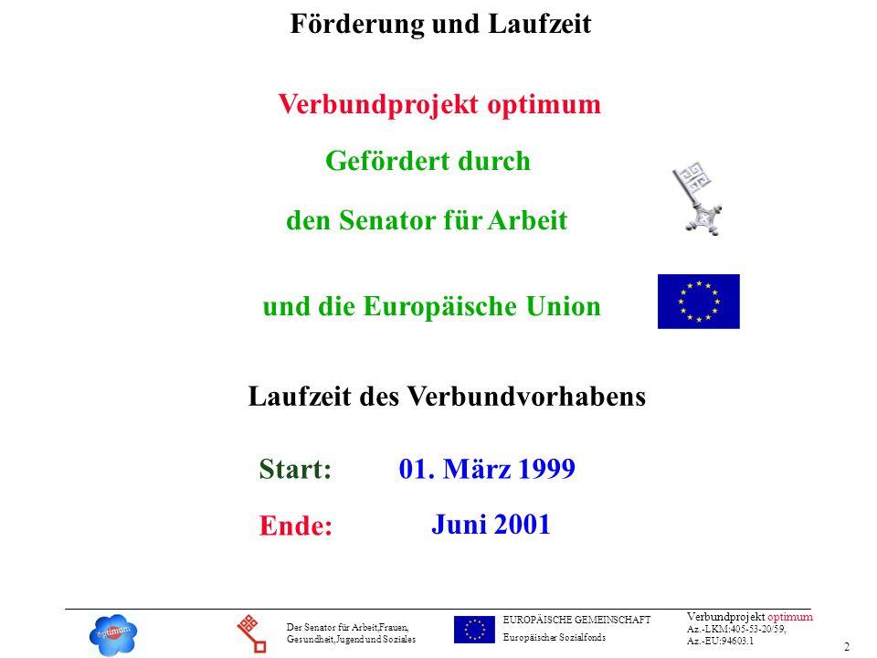 2 Verbundprojekt optimum Az.-LKM:405-53-20/59, Az.-EU:94603.1 Der Senator für Arbeit,Frauen, Gesundheit,Jugend und Soziales EUROPÄISCHE GEMEINSCHAFT E