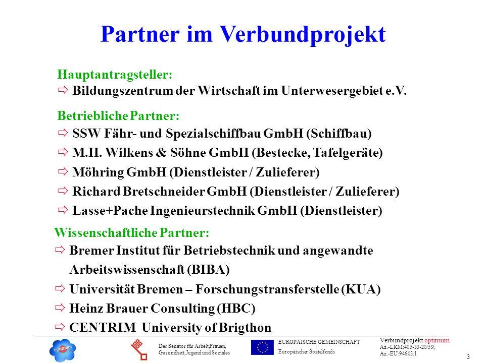 3 Verbundprojekt optimum Az.-LKM:405-53-20/59, Az.-EU:94603.1 Der Senator für Arbeit,Frauen, Gesundheit,Jugend und Soziales EUROPÄISCHE GEMEINSCHAFT E