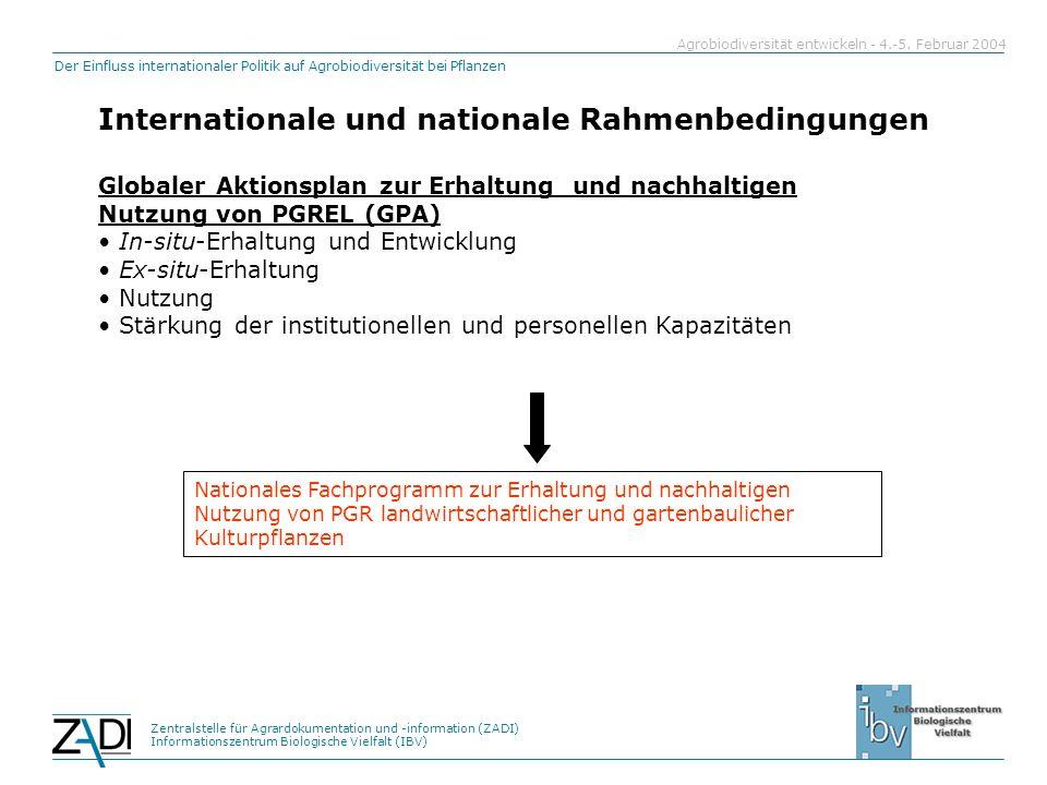 Zentralstelle für Agrardokumentation und -information (ZADI) Informationszentrum Biologische Vielfalt (IBV) Der Einfluss internationaler Politik auf Agrobiodiversität bei Pflanzen Agrobiodiversität entwickeln - 4.-5.