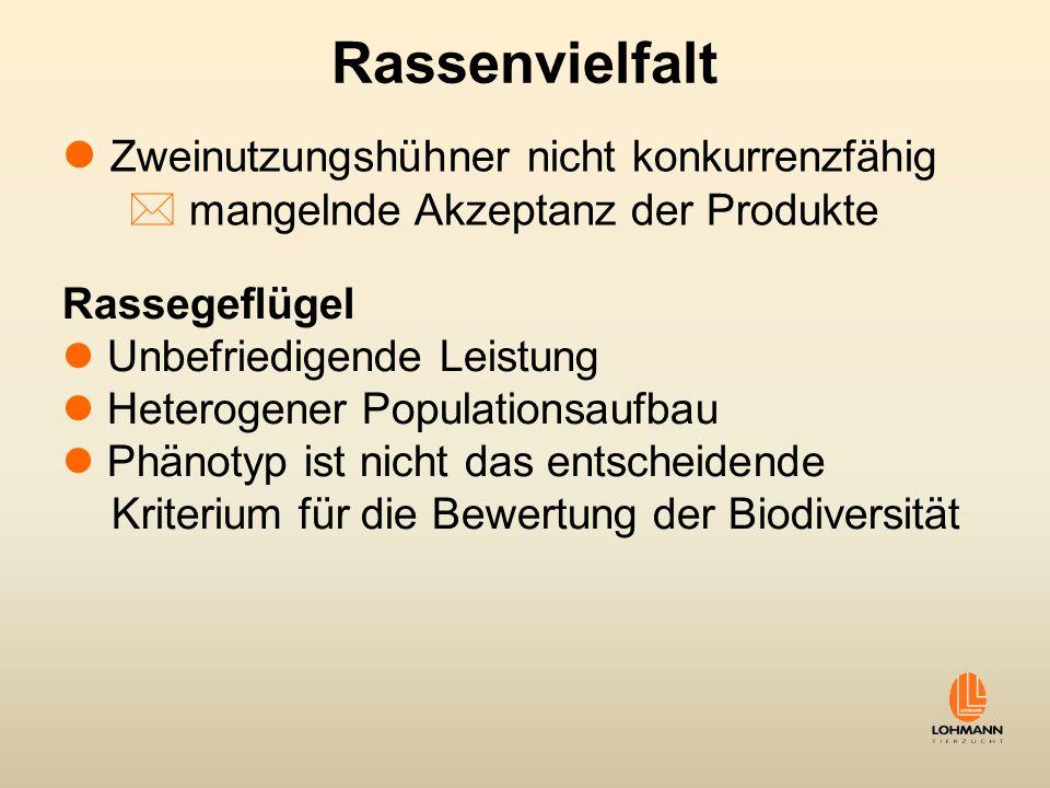 Rassenvielfalt Zweinutzungshühner nicht konkurrenzfähig * mangelnde Akzeptanz der Produkte Rassegeflügel Unbefriedigende Leistung Heterogener Populati