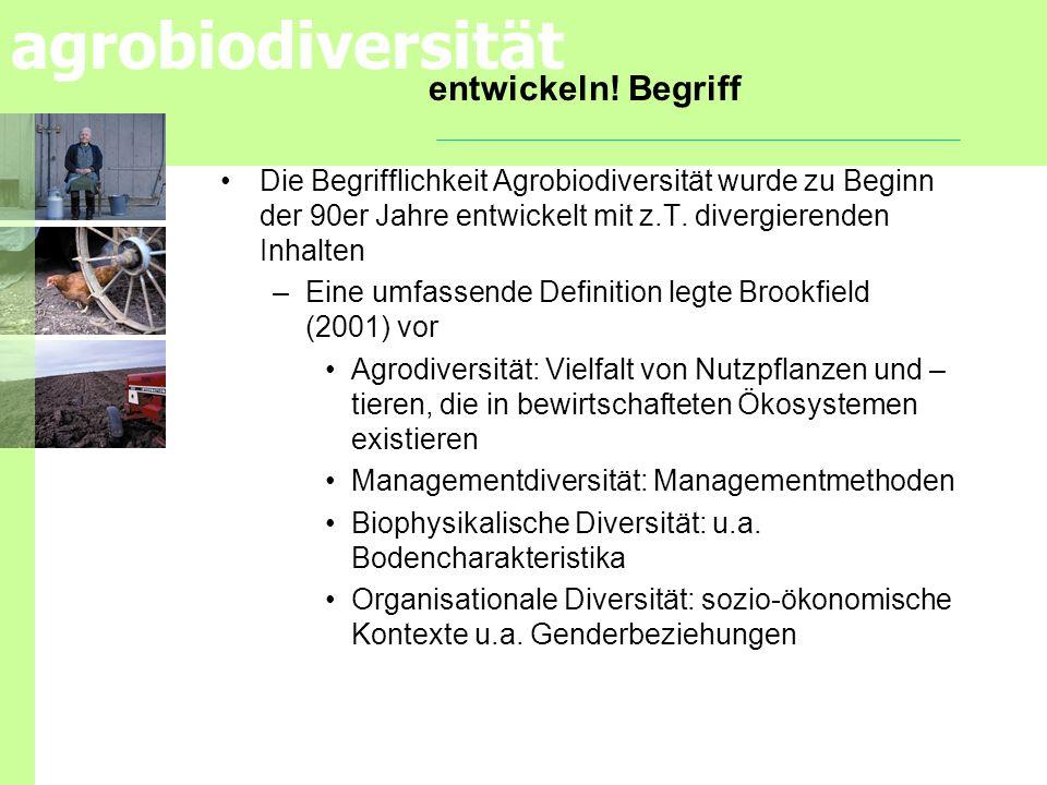 agrobiodiversität entwickeln! Begriff Die Begrifflichkeit Agrobiodiversität wurde zu Beginn der 90er Jahre entwickelt mit z.T. divergierenden Inhalten