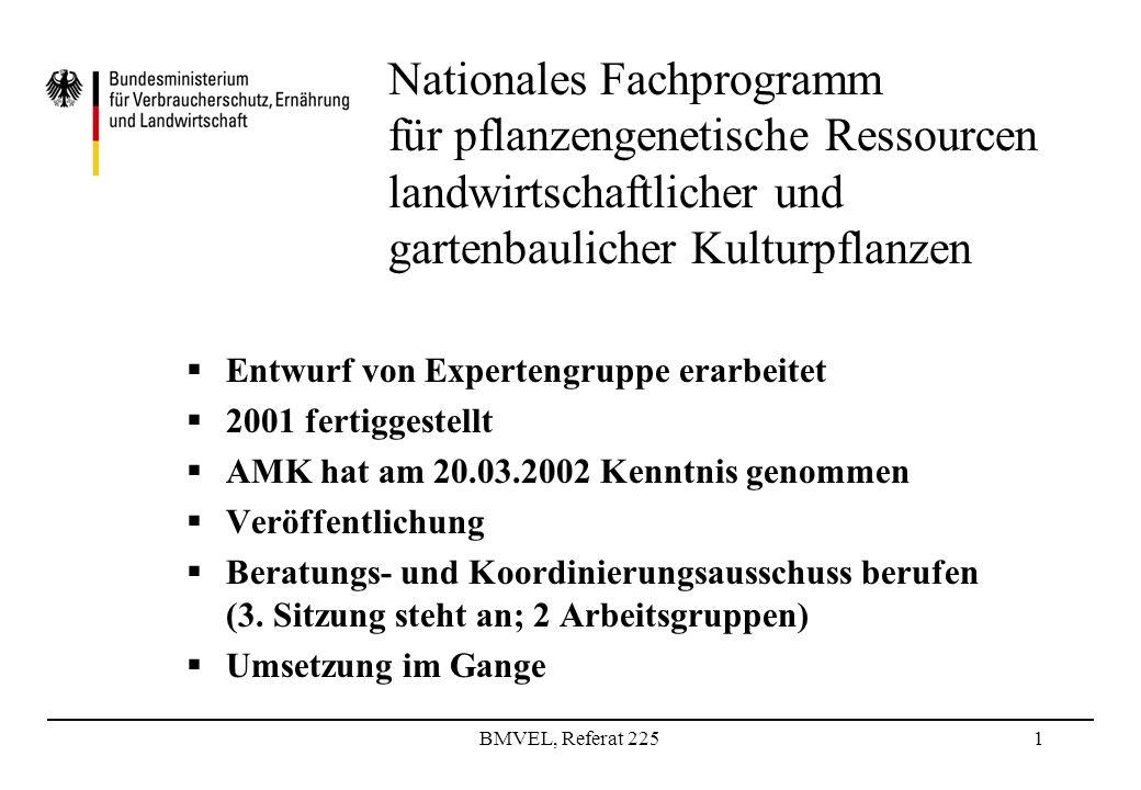 BMVEL, Referat 2251 Nationales Fachprogramm für pflanzengenetische Ressourcen landwirtschaftlicher und gartenbaulicher Kulturpflanzen Entwurf von Expertengruppe erarbeitet 2001 fertiggestellt AMK hat am 20.03.2002 Kenntnis genommen Veröffentlichung Beratungs- und Koordinierungsausschuss berufen (3.