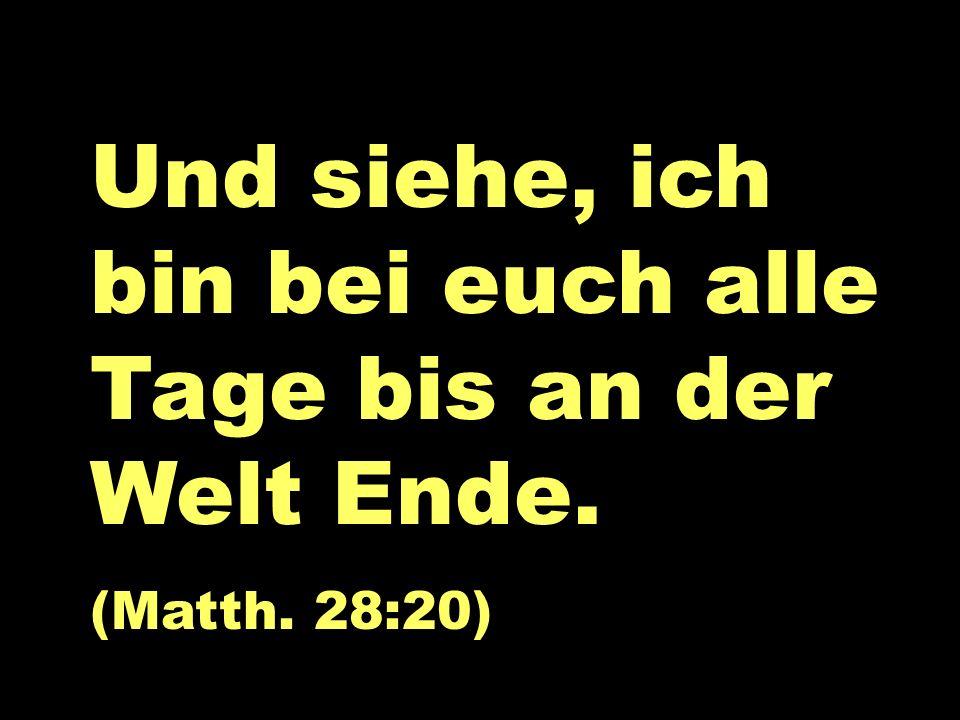 Matt 28 Und siehe, ich bin bei euch alle Tage bis an der Welt Ende. (Matth. 28:20)