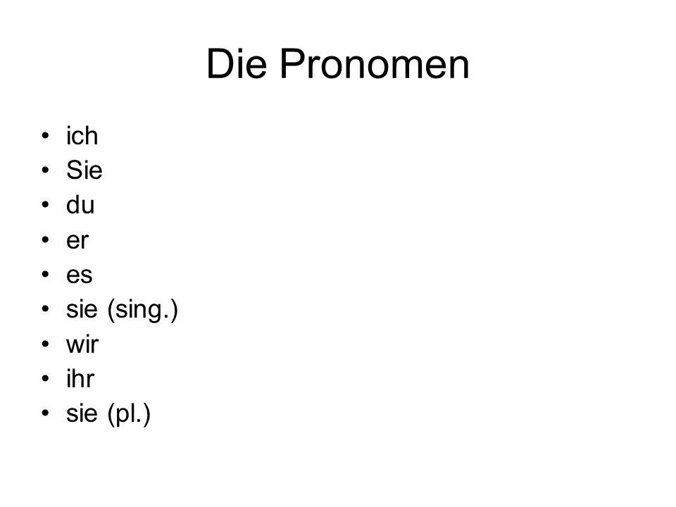 Die Pronomen ich Sie du er es sie (sing.) wir ihr sie (pl.)