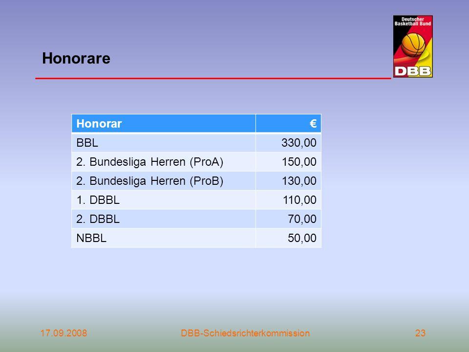17.09.2008DBB-Schiedsrichterkommission23 Honorare Honorar BBL330,00 2. Bundesliga Herren (ProA)150,00 2. Bundesliga Herren (ProB)130,00 1. DBBL110,00