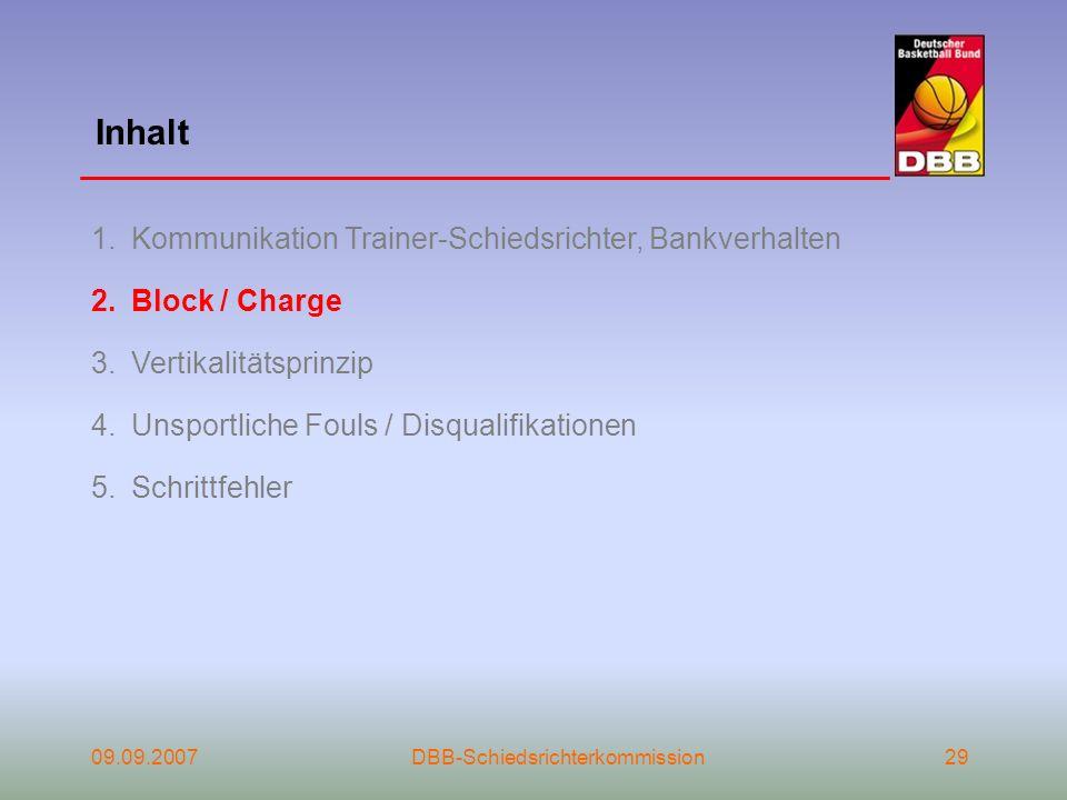 Inhalt 09.09.2007DBB-Schiedsrichterkommission29 1.Kommunikation Trainer-Schiedsrichter, Bankverhalten 2.Block / Charge 3.Vertikalitätsprinzip 4.Unspor