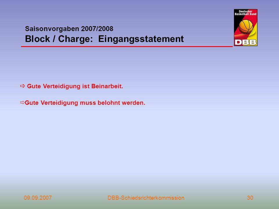 09.09.2007DBB-Schiedsrichterkommission30 Gute Verteidigung ist Beinarbeit. Gute Verteidigung muss belohnt werden. Saisonvorgaben 2007/2008 Block / Cha