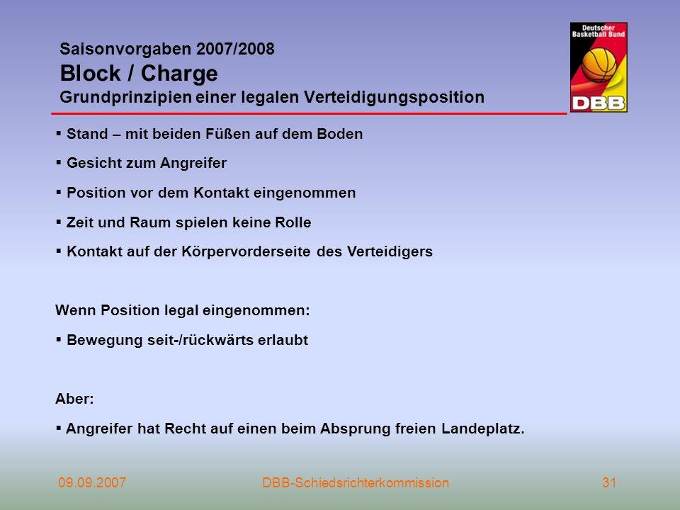 09.09.2007DBB-Schiedsrichterkommission31 Saisonvorgaben 2007/2008 Block / Charge Grundprinzipien einer legalen Verteidigungsposition Stand – mit beide
