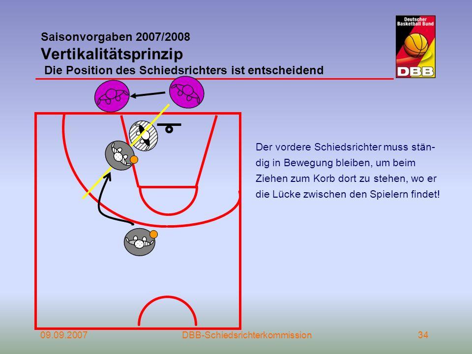 09.09.2007DBB-Schiedsrichterkommission34 Saisonvorgaben 2007/2008 Vertikalitätsprinzip Die Position des Schiedsrichters ist entscheidend Der vordere S