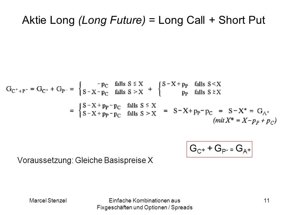 Marcel StenzelEinfache Kombinationen aus Fixgeschäften und Optionen / Spreads 11 Aktie Long (Long Future) = Long Call + Short Put G C + + G P - = G A