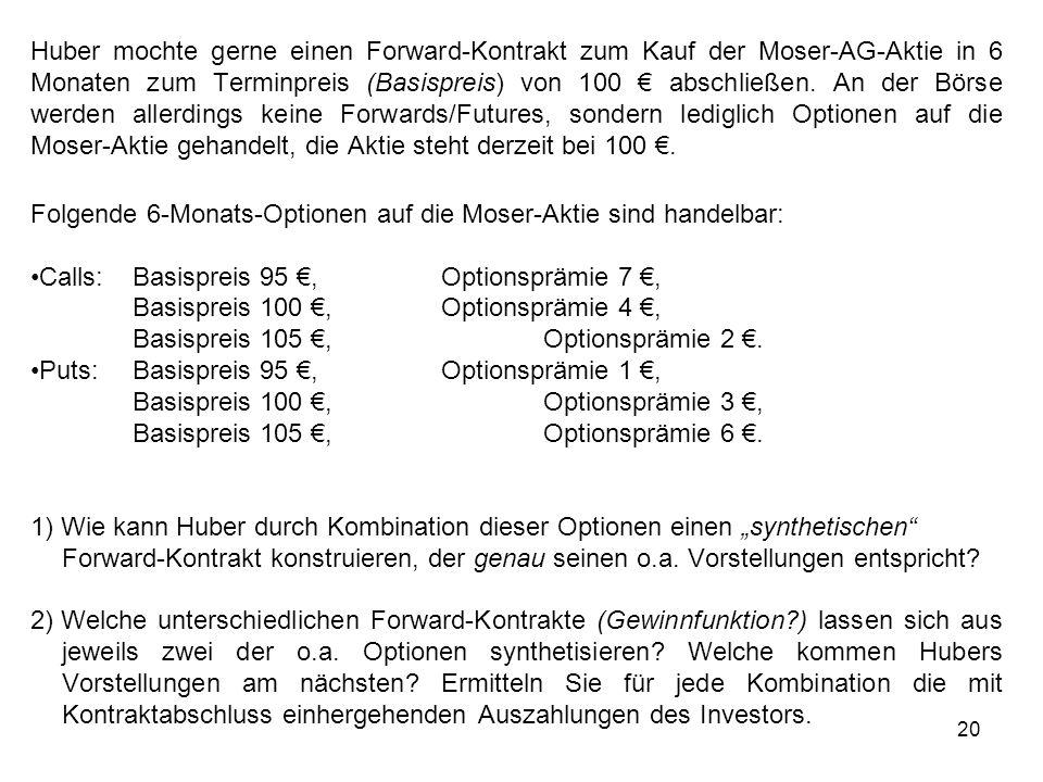 20 Huber mochte gerne einen Forward-Kontrakt zum Kauf der Moser-AG-Aktie in 6 Monaten zum Terminpreis (Basispreis) von 100 abschließen. An der Börse w