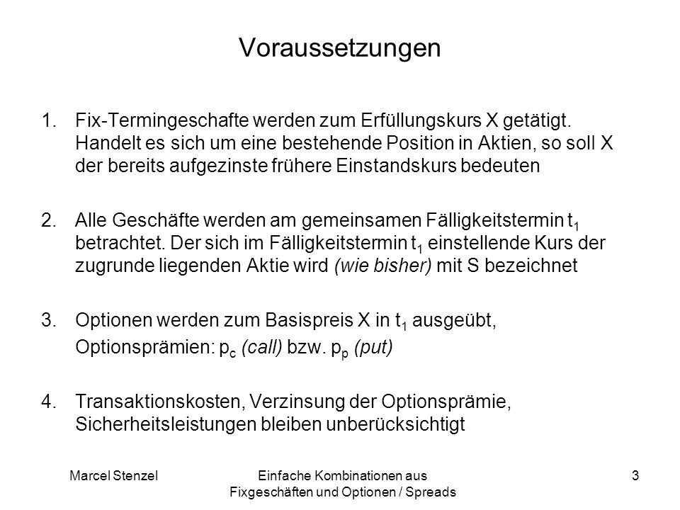 Marcel StenzelEinfache Kombinationen aus Fixgeschäften und Optionen / Spreads 3 Voraussetzungen 1.Fix-Termingeschafte werden zum Erfüllungskurs X getä