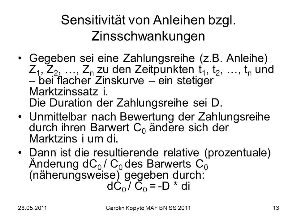 28.05.2011Carolin Kopyto MAF BN SS 201113 Sensitivität von Anleihen bzgl. Zinsschwankungen Gegeben sei eine Zahlungsreihe (z.B. Anleihe) Z 1, Z 2, …,