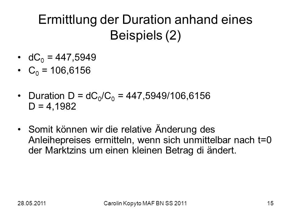 28.05.2011Carolin Kopyto MAF BN SS 201115 Ermittlung der Duration anhand eines Beispiels (2) dC 0 = 447,5949 C 0 = 106,6156 Duration D = dC 0 /C 0 = 4