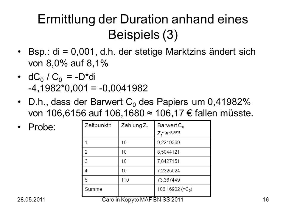 28.05.2011Carolin Kopyto MAF BN SS 201116 Ermittlung der Duration anhand eines Beispiels (3) Bsp.: di = 0,001, d.h. der stetige Marktzins ändert sich