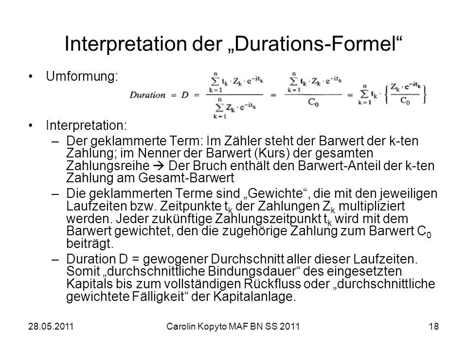 28.05.2011Carolin Kopyto MAF BN SS 201118 Interpretation der Durations-Formel Umformung: Interpretation: –Der geklammerte Term: Im Zähler steht der Ba