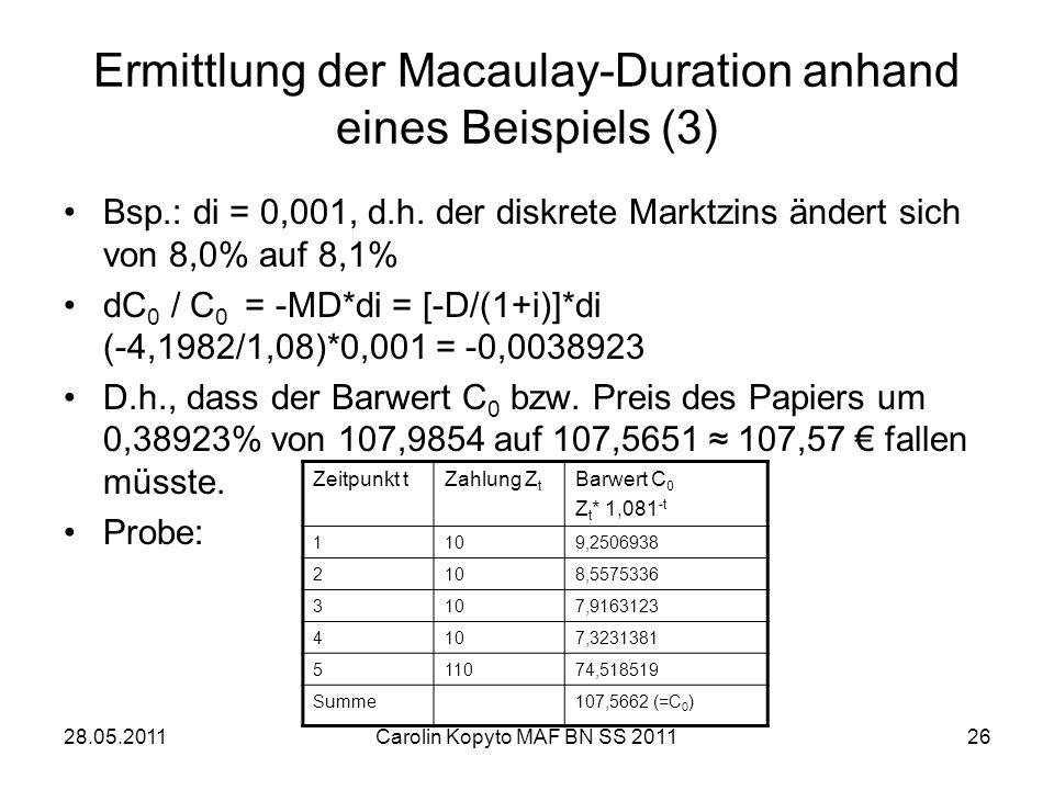 28.05.2011Carolin Kopyto MAF BN SS 201126 Ermittlung der Macaulay-Duration anhand eines Beispiels (3) Bsp.: di = 0,001, d.h. der diskrete Marktzins än