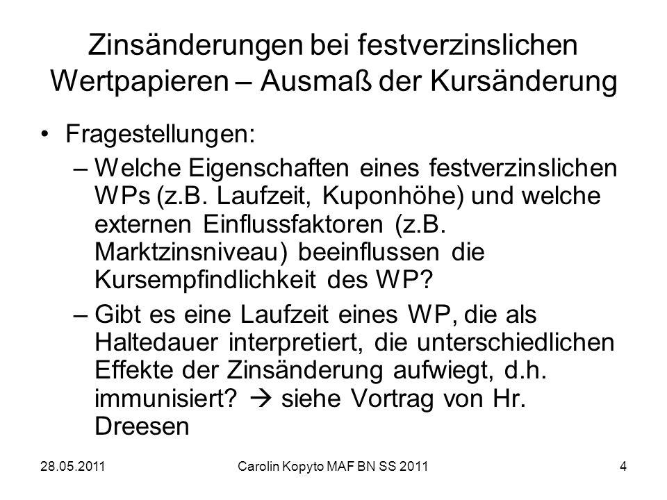 28.05.2011Carolin Kopyto MAF BN SS 20114 Zinsänderungen bei festverzinslichen Wertpapieren – Ausmaß der Kursänderung Fragestellungen: –Welche Eigensch