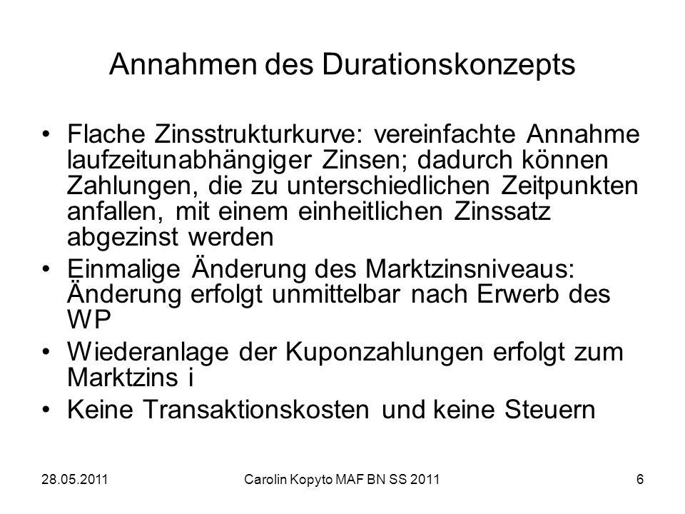 28.05.2011Carolin Kopyto MAF BN SS 20116 Annahmen des Durationskonzepts Flache Zinsstrukturkurve: vereinfachte Annahme laufzeitunabhängiger Zinsen; da