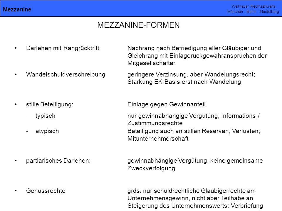 Weitnauer Rechtsanwälte München - Berlin - Heidelberg Darlehen mit RangrücktrittNachrang nach Befriedigung aller Gläubiger und Gleichrang mit Einlagerückgewähransprüchen der Mitgesellschafter Wandelschuldverschreibunggeringere Verzinsung, aber Wandelungsrecht; Stärkung EK-Basis erst nach Wandelung stille Beteiligung: Einlage gegen Gewinnanteil -typischnur gewinnabhängige Vergütung, Informations-/ Zustimmungsrechte -atypischBeteiligung auch an stillen Reserven, Verlusten; Mitunternehmerschaft partiarisches Darlehen:gewinnabhängige Vergütung, keine gemeinsame Zweckverfolgung Genussrechtegrds.