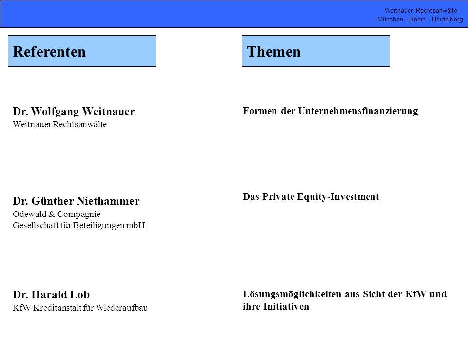 Weitnauer Rechtsanwälte München - Berlin - Heidelberg Dr. Wolfgang Weitnauer Weitnauer Rechtsanwälte Formen der Unternehmensfinanzierung Dr. Günther N