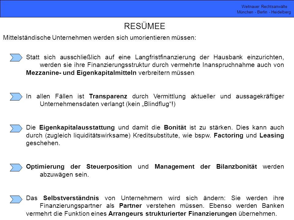 Weitnauer Rechtsanwälte München - Berlin - Heidelberg RESÜMEE Mittelständische Unternehmen werden sich umorientieren müssen: Statt sich ausschließlich