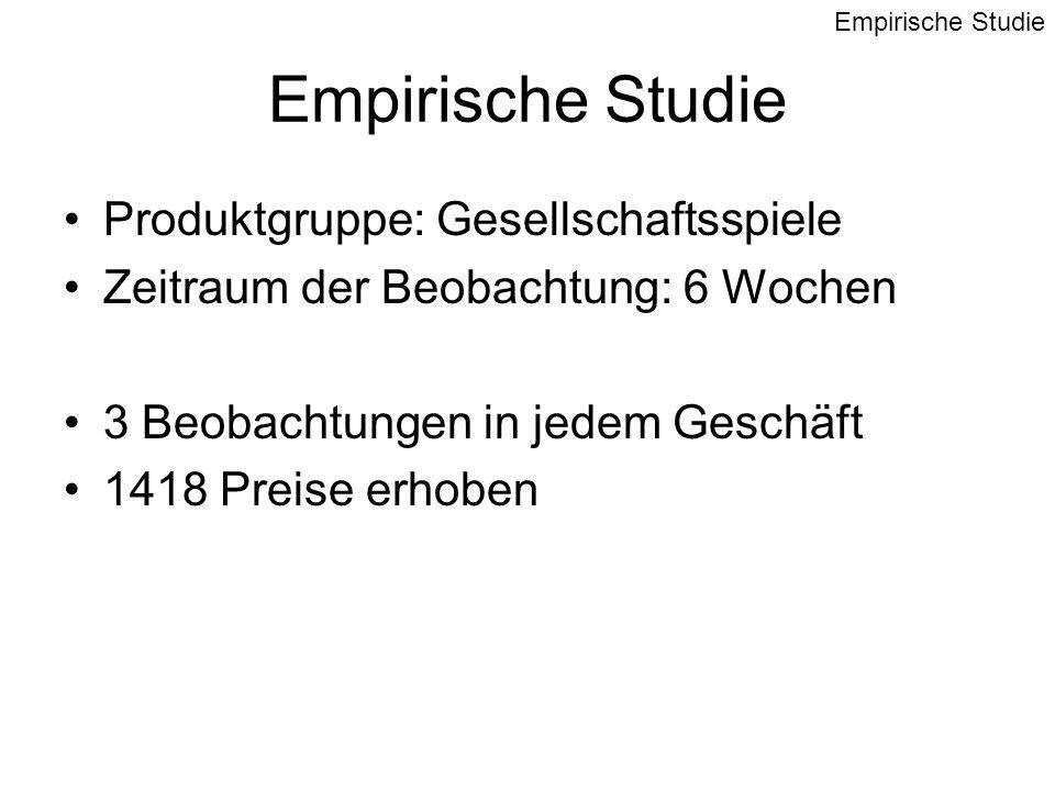Empirische Studie Produktgruppe: Gesellschaftsspiele Zeitraum der Beobachtung: 6 Wochen 3 Beobachtungen in jedem Geschäft 1418 Preise erhoben Empirische Studie