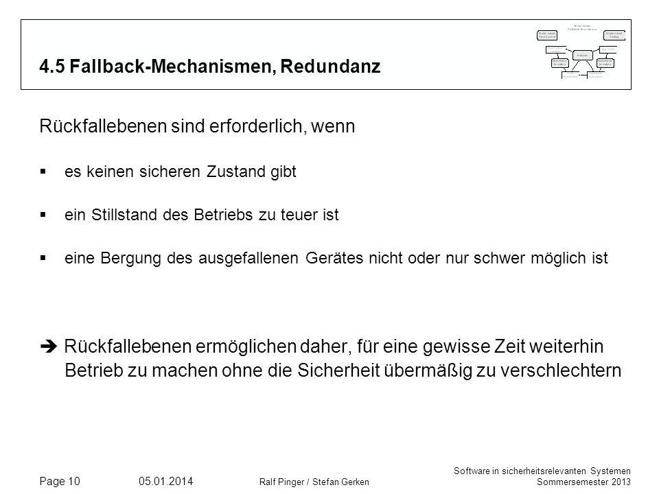 Software in sicherheitsrelevanten Systemen Sommersemester 2013 05.01.2014 Ralf Pinger / Stefan Gerken Page 10 4.5 Fallback-Mechanismen, Redundanz Rück