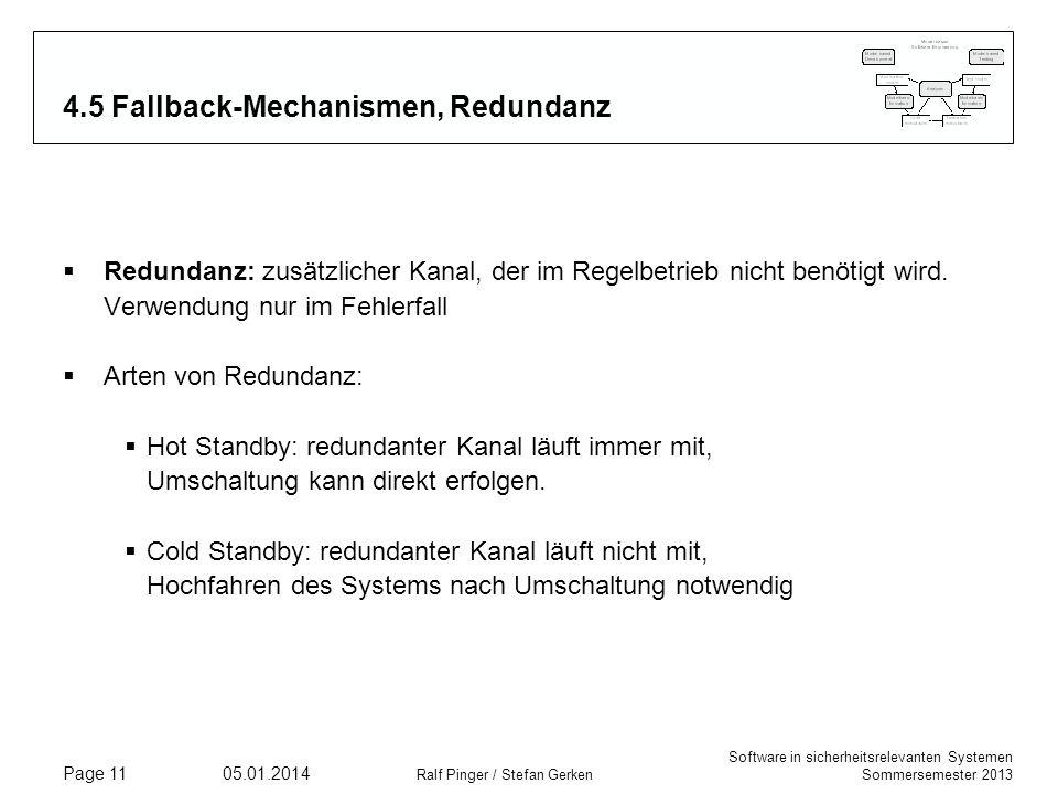 Software in sicherheitsrelevanten Systemen Sommersemester 2013 05.01.2014 Ralf Pinger / Stefan Gerken Page 11 4.5 Fallback-Mechanismen, Redundanz Redundanz: zusätzlicher Kanal, der im Regelbetrieb nicht benötigt wird.